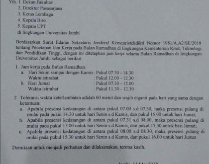 Penyesuaian Jam Kerja Selama Bulan Ramadhan 1439H