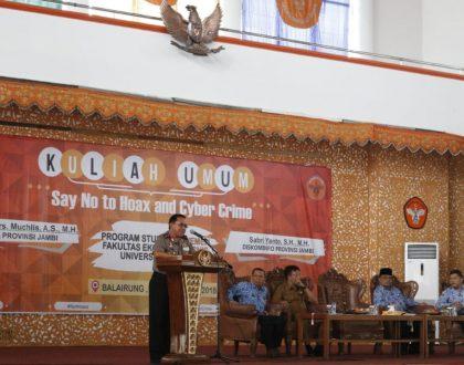 """Kapolda Jambi, Rektor Unja dan Pemprov Jambi Kampanyekan """"Say No to Hoax and Cyber Crime"""""""