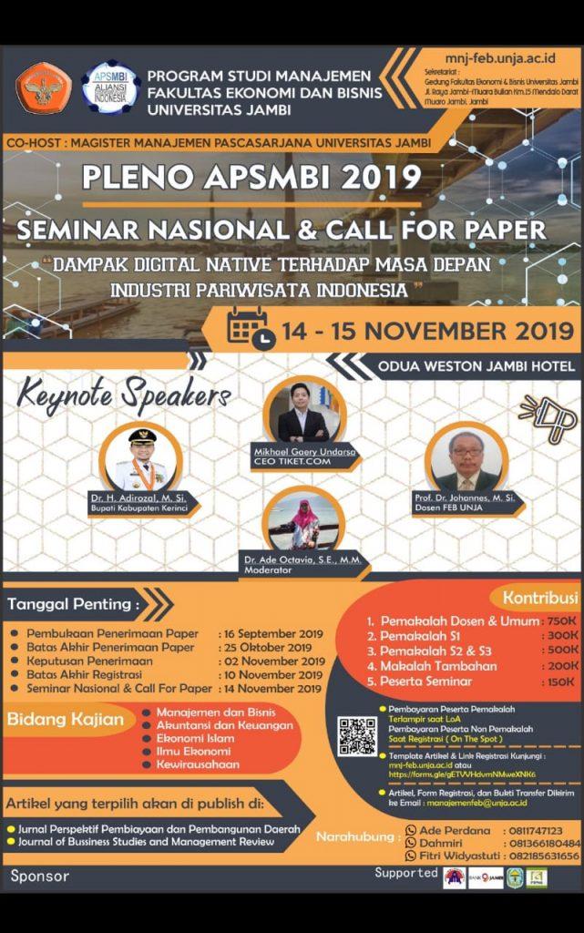 Prodi Manajemen Menjadi Host Pleno dan Seminar Nasional APSMBI 2019